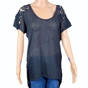 Free People Black Lace Hi Low Tunic Size Small